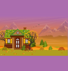 with country house in flat vector image vector image
