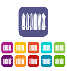 Wooden fence icons set flat vector