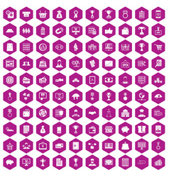 100 business icons hexagon violet vector