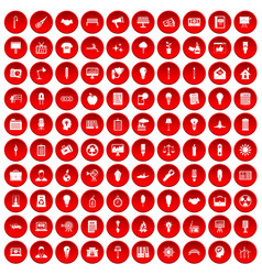 100 lamp icons set red vector