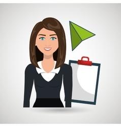Woman clipboard tool app vector
