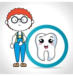 Cartoon boy with human tooth vector