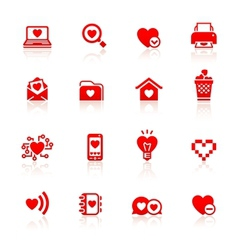 Set valentines day red symbols vector image