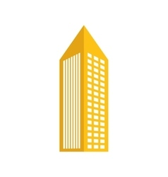 Yellow building with pointed top icon vector