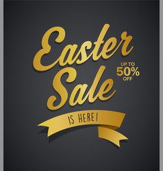 Golden easter sale is here text with ribbon on vector