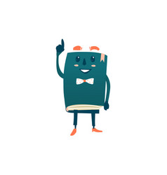 Cartoon smiling humanized book in bowtie vector