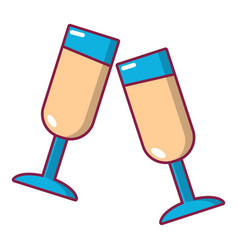Glasses of champagne icon cartoon style vector