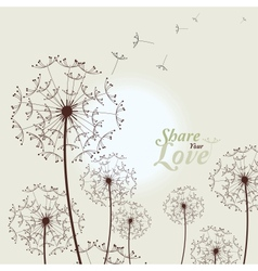 Love card with dandelions vector