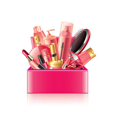 Cosmetics box isolated vector
