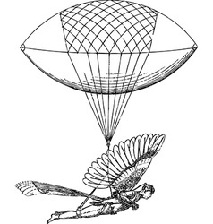Historical flying balloon design vector