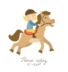Cute little girl riding a horse vector image