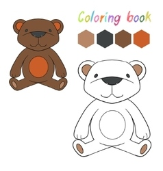 Coloring book bear kids layout for game vector