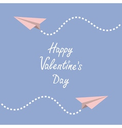 Happy valentines day love card two origami paper vector