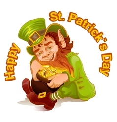 Dwarf embraced pot of gold patricks day vector