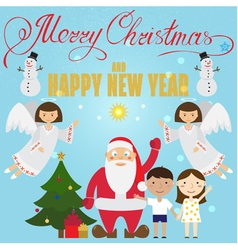 Christmas poster design with santa claus angel chi vector