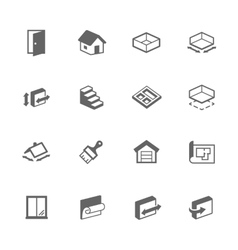 Simple building house icons vector