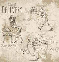 Delivery of different food vector