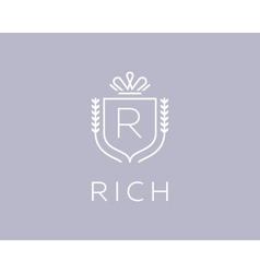 Elegant monogram letter r logotype premium crest vector