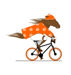 Dappled horse riding a bicycle vector