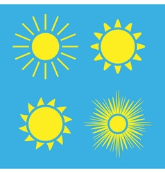 Sun icons set blue collection yellow vector