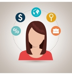 Person with set business icon design vector
