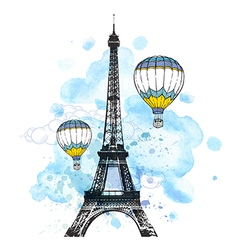Eiffel tower and air balloons vector