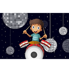 A young drummer at the disco house vector image vector image