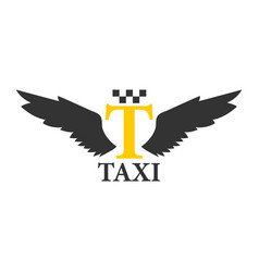 Business class taxi logotype with abstract angel vector