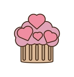 Cupcake pink hearts wedding snack icon vector