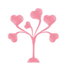 drawing pink tree leaves shape hearts lovely vector image