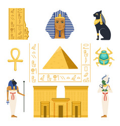 Egypt set egyptian ancient symbols colorful vector