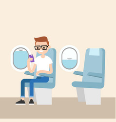 Funny red head nerd sitting on the plane and vector