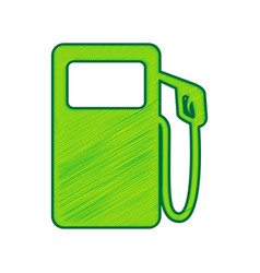 gas pump sign lemon scribble icon on vector image