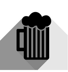 Glass of beer sign black icon with two vector