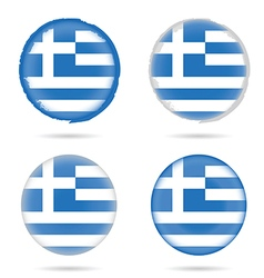 Greek flag icon in colorful on white background vector