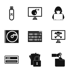Hacking icons set simple style vector image