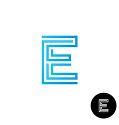 Letter E maze linear style logo vector image