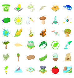 nature biology icons set cartoon style vector image