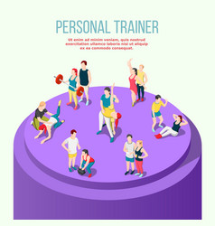 Personal trainer isometric composition vector