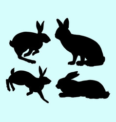 rabbit pet animal action silhouette vector image