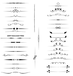 Set decorative design elements calligraphic vector image vector image