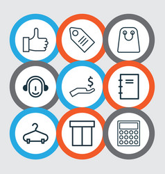 Set of 9 commerce icons includes spiral notebook vector