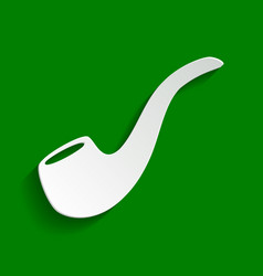 Smoke pipe sign paper whitish icon with vector