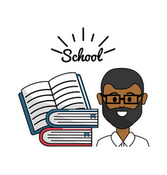 teacher with open notebook and books vector image