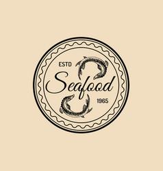 Vintage seafood logo marine products vector