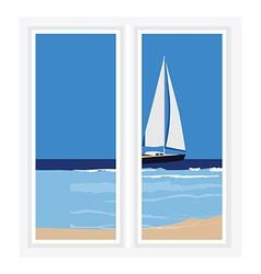 Window seascape vector image vector image