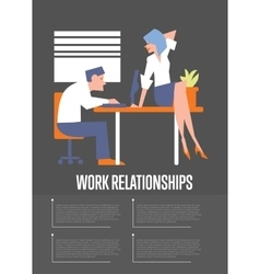 Work relationships banner with businesspeople vector