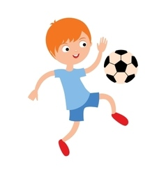 Young child boy playing football vector image