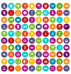 100 golf icons set color vector