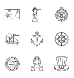 Geography icons set outline style vector
